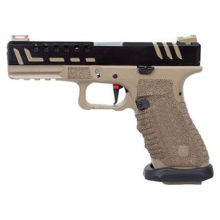 AC G17 Glock Type Scorpion D-MOD Tan Dual Power Co2 GBB Full Metal by Aps